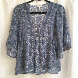 Joie boho kimono top  Small Sheer Blue and White